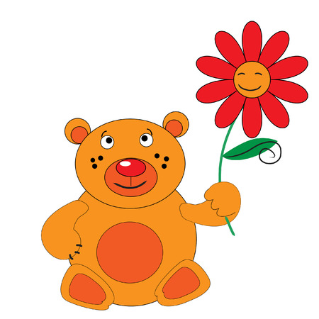 The Bear with red flower. Orange smiling bear..
