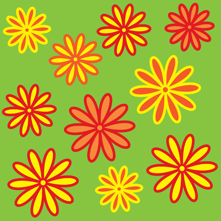 The Bright varicoloured flowerses. Much beautiful daisywheels. Stock Vector - 6239330
