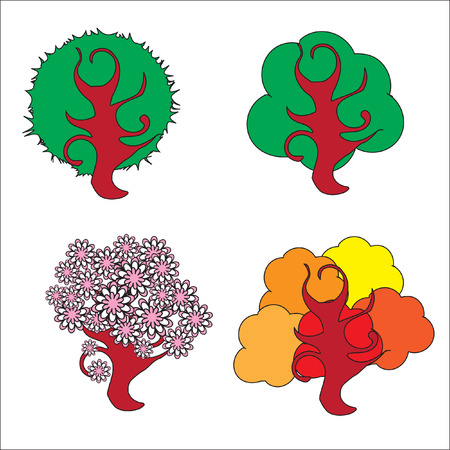 The Unusual tree. The Solitary tree on white background. Illustration