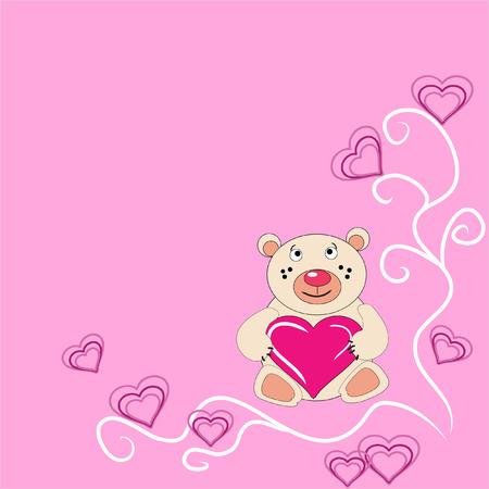 De beer cub houdt in de hand hart. De feestelijke brief kaart.