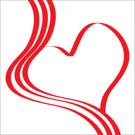 The Abstract background heart. The Heart from red tapes.