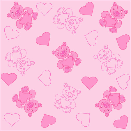 The Nice abstract background. The Rose bear and heart.  Vector