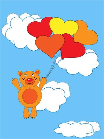 The Teddy bear flies on air ball. The Festive postcard.
