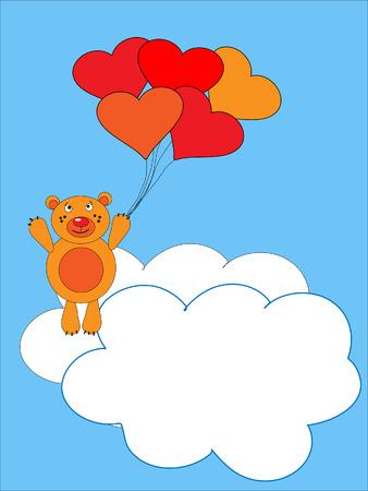 De teddy beer vliegt op lucht bal. De feestelijke brief kaart.
