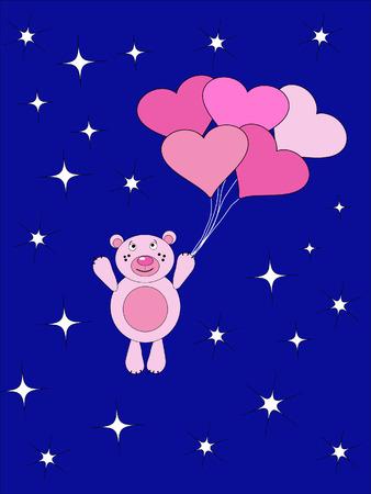 The Teddy bear flies on air ball. The Festive postcard. Vector