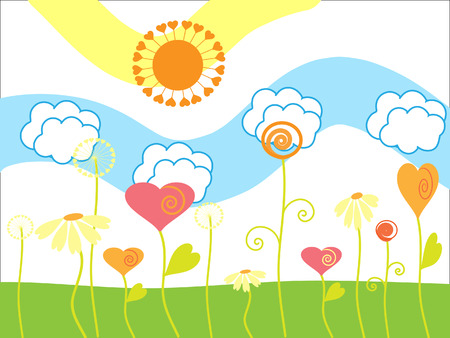 flowerses: The Drawing merry summer. The Flowerses and sun.
