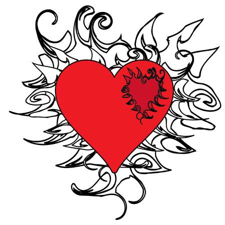 The Background heart. The Festive postcard. Vector