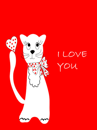 The Postcard blanching pussy cat. The Cat on red background. Vector