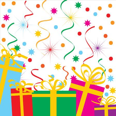 varicoloured: El fondo festivo abstract. Cintas Varicoloured y regalo.