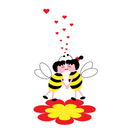 The Bees on flower. The Kiss of the bees. Vector