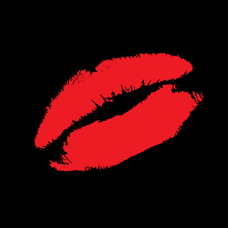 The Imprint of the feminine lips on black background. The Red pomade on lip. Illustration