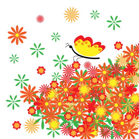 The Abstract floral background. The Complimentary postcard.  Illustration