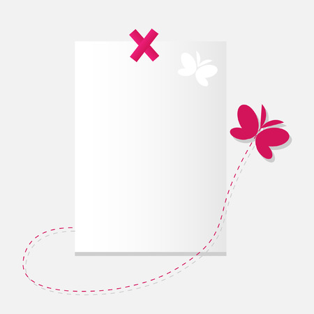 The Sheet of paper and butterfly. The Place for your text. Vector