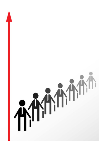 The Employees cost(stand) in queue for success. The Concept of the professional growing.
