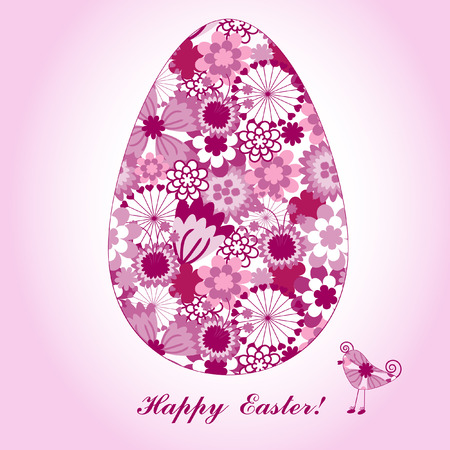 colored eggs: The Peaster postcard.The Egg with bright floral drawing. Illustration