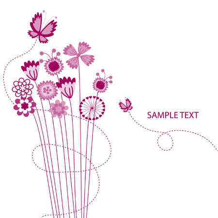 small flowers: The Abstract floral background. The Complimentary postcard.  Illustration