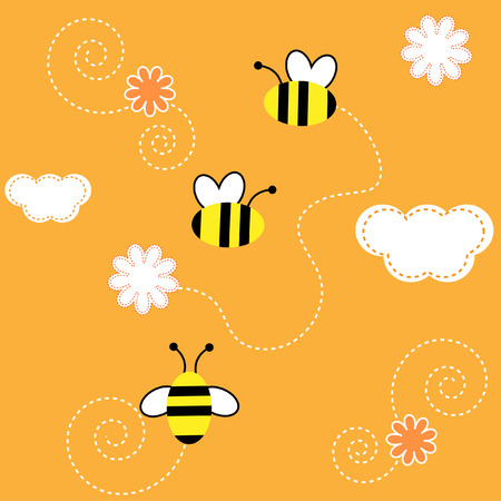 fabric surface: The Background seamless .The Bees collect the pollen with flower..