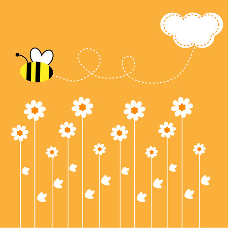 The Background seamless .The Bees collect the pollen with flower..