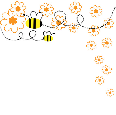collect: The Background seamless .The Bees collect the pollen with flower..
