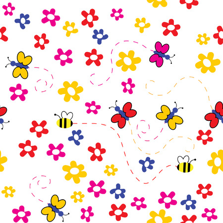 flowerses: The Background seamless floral.The Flowerses, butterflies and bees.