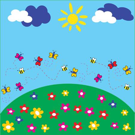 La pelouse arrière-plan joyeux. Les papillons et flowerses.