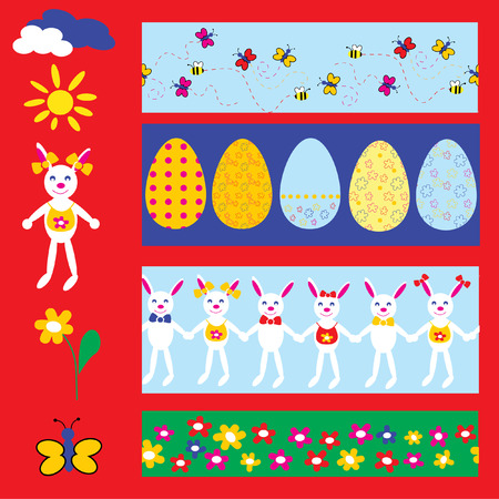 The Peaster seamless.The Egg with bright floral drawing. Vector