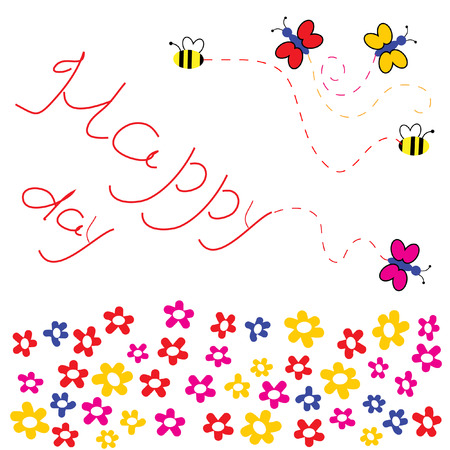 flowerses: The Merry background lawn. The Butterflies and flowerses. Illustration