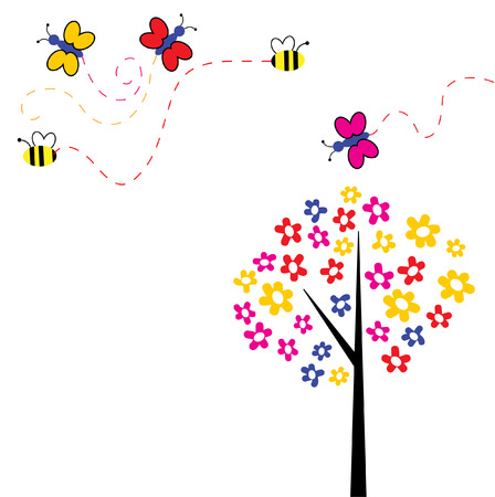 The Merry background lawn. The Butterflies and flowerses. Illustration