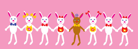 The Nursery illustration. The Smiling bunnies to hold for hands. Vector
