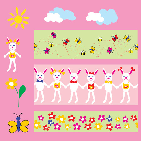 The Flowerses, butterflies and small bunnies. Vector