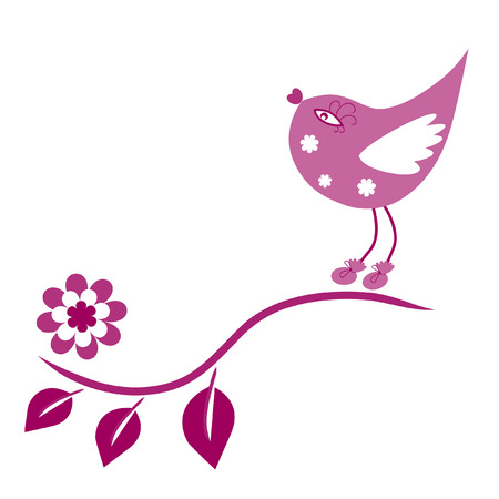 The Birdie sits on branch and sings. The Illustration of the springtime. Vector