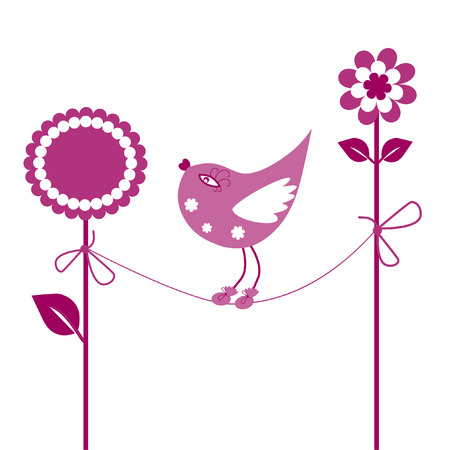 flowerses: The Complimentary postcard. The Birdie and flowerses.