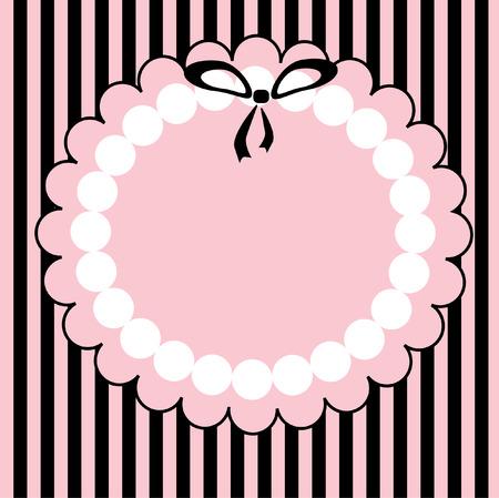 vendange: Le cadre de la rose avec archet petit noir. La carte postale gratuite.  Illustration