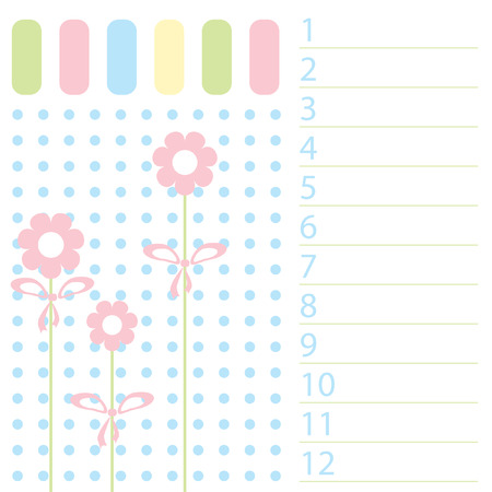 flowerses: The Pattern list in baby registration. The Flowerses with small bow. Illustration