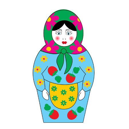 wooden doll: The Set of nesting dolls insulated on white background. The Illustration. Illustration
