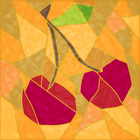 The Abstract background. The Ripe cherry.  Vector