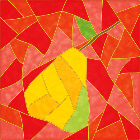 stained glass: The Abstract background. The Ripe pear.  Illustration