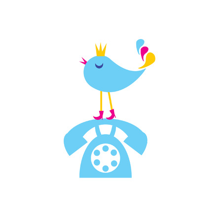 Die Concept lange Vortrag über Telefon. Der Vogel sitzt auf Telefon.