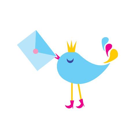 mail envelope: The Illustration bird with envelope. The Symbol. Illustration