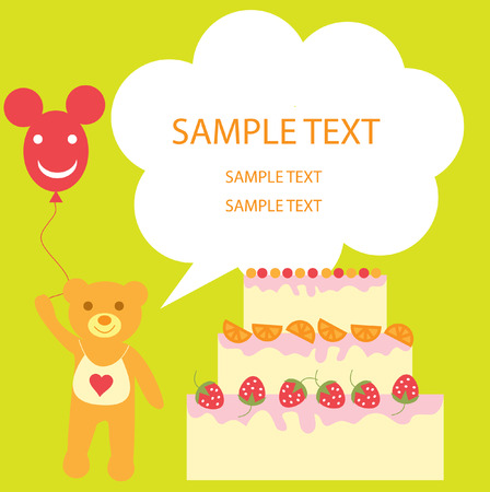 The Festive postcard. The Teddy bear and cake with strawberries. Vector