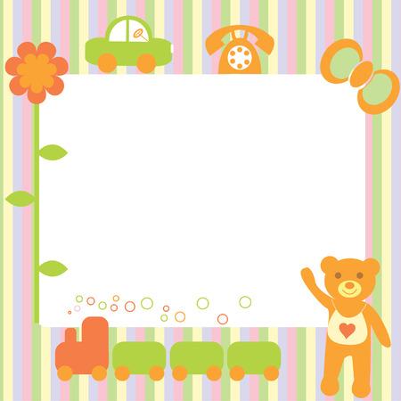The Festive postcard. The Teddy bear and toys.