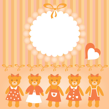 The Festive postcard. The Frame and teddy bears. Vector