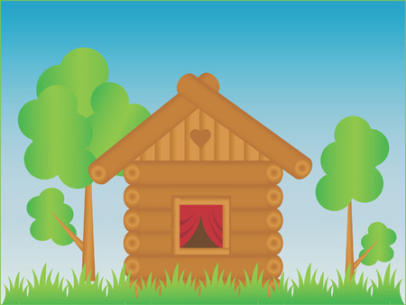 The Rustic lodge. The Illustration. Vector