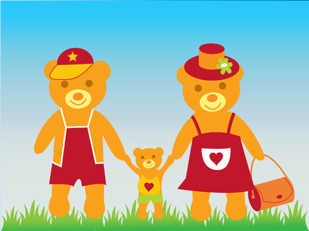 The Lucky family. The Teddy bear and his(its) parents. Vector