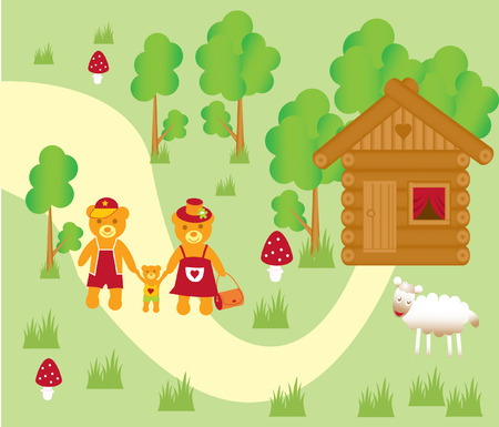The Lucky family in village. The Illustration. Vector