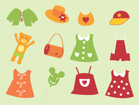 The Set of the baby cloth. The Cloth for child. Vector