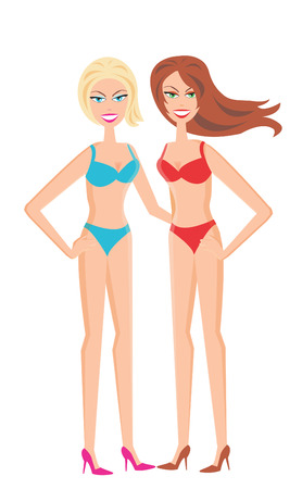 The Girls in swimsuit. The Girls on white background.