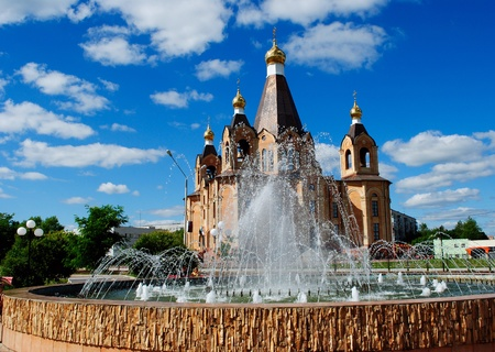 The Cathedral on background blue sky. Russia. Stock Photo