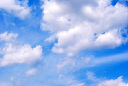 The Clouds on turn blue the sky. The Celestial background. Stock Photo