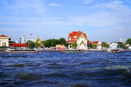 chao praya: Landscape with landmarks in Bangkok on the river Chao Praya Stock Photo